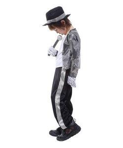 Boys Cadılar Bayramı Kostüm Michael Jackson Billie Jean Çocuk Fantezi Elbise Kostüm Çocuk Performans Giyim dans setleri giymek