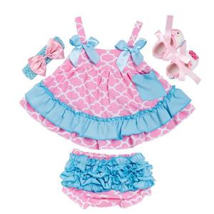 Bebek Çiçek Elbise Takım Elbise Prenses fırfır Sling Elbise Dot Splice Cep Çocuk Casual Giyim Kız Elastik Pileli PP Pantolon 060415 Tops