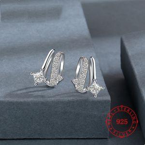 Die meistverkauften Cz Gemstone festen 925 Sterling Silber Frauen Schmuck Ohrringe weibliche Ohrringe geometrisch minimalistische Schraube zurück Großhandel Ohrring