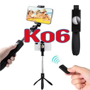 K06 Bastone pieghevole Selfie Stick bluetooth con treppiede Selfie Stick con stativo per selfie wireless estensibile per smartphone con scatola