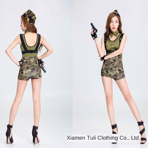 Sexy camouflage policewoman army temptation uniform stage uniform jumpsuit theme party nightclub ds performance clothes stage clothes