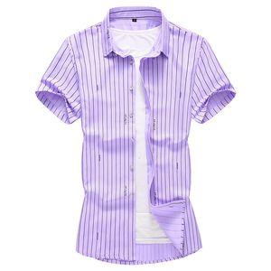 2019 Zomer Mode Nieuwe mannen Casual Korte Mouwen Gestreept Shirt mannen Slim Revers Business Shirt