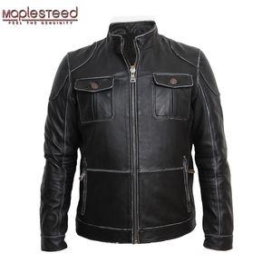 MAPLESTEED Veste en cuir véritable homme Vestes cuir véritable peau de vache Noir Veste Manteau Hommes Biker hiver 093