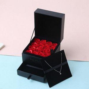 День Romantic Rose Box Женщины Девушки Soap цветов День рождения Свадебные украшения партии Юбилей Валентина Подарок для подружки