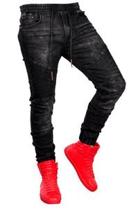 Hommes noirs Sport Jogger Jeans Printemps Designer taille élastique Jeans Denim Pantalons Pantalones Vêtements Mode