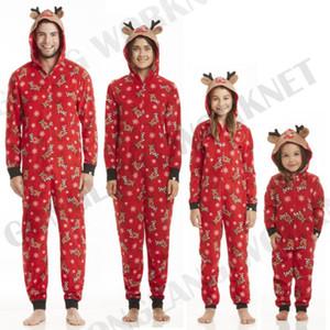 Matching famille Noël Pyjama Romper Jumpsuit Femmes Hommes Enfants Bébé Rouge Imprimer Noël vêtements de nuit à capuchon Tenues Zipper