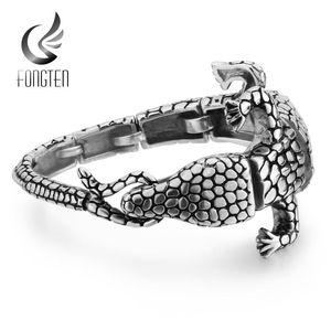 Peixe animal aço inoxidável Fongten Crocodile Charm Bracelet Bangle 361L prata Blacken Masculino pulseiras moda jóias