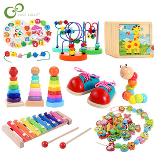 Tijolos educacionais do bebê blocos de madeira Montessori Early Learning Brinquedos Natal de Ano Novo presente de aniversário para crianças