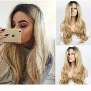 Charming Ombre Wigs 1b 27# Black Blonde Long Body Wavy Wig Heat Resistant Glueless Synthetic Lace Front Wigs for Black Women
