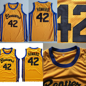 Mens Teen Wolf Beavers 42 Scott Howard Gold 100% Stitched Movie Basketball Jerseys S-XXXL Wholesale Mix Order Fast Shipping