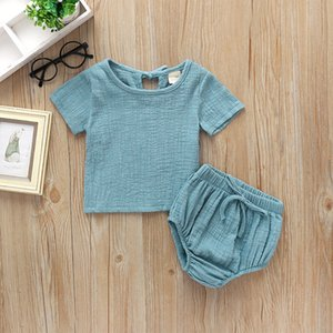 New Baby kids Clothing Solid Color Two Piece Sets Short Sleeve Shirt + Short Girl Summer Comfortable Soft Summer Clothing Sets