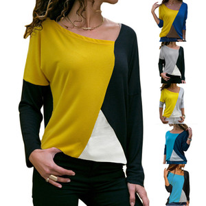 Fashion Women Blouses Long Sleeved T -Shirt For Womens Shirts Panelled Color Pullover Designer Clothing Tops S -Xx Wholesale