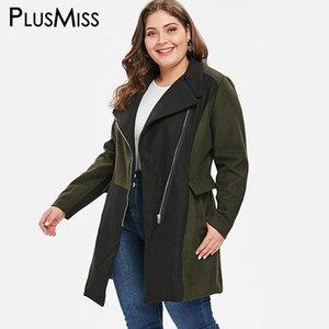 PlusMiss Plus Size 5XL Warme Reisetasche Lange Mischung Wollmantel Frauen Winter Übergroße Oberbekleidung Herbst Mäntel Jacken XXXXL XXXL XXL