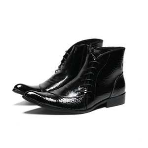 Mens Patent Leather Black Boots Elegant Black Boss Ankle Boots Cool Male Dress Shoes Italian 11#202 20D50