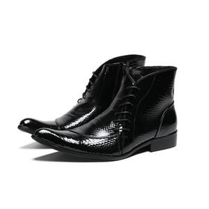 Mens Patent Leather Black Boots Elegant Black Boss Ankle Boots Cool Male Dress Shoes Italian 11#202 20D50