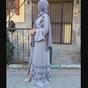 Этническая одежда Элегантная Полная длина Мусульманская Абая Арабская Сингапур Кардиган Аппликации Халаты Джилбаб Женский Дубай Мусульмане Платье Исламский WJ1248