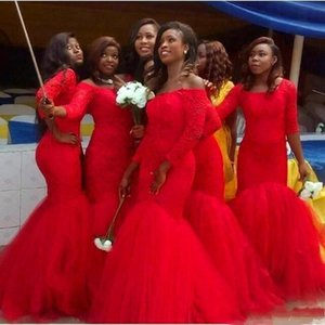 Charming Red Mermaid Bridesmaid Dress Off the Shoulder 3 4 Sleeve Lace Appliques Wedding Guest Gown Tulle Bottom Prom Wear