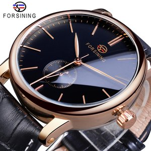 Forsining الفرعية بسيطة الرجال الميكانيكية التلقائية ووتش الهاتفي الأسود رقيقة جدا النظير حقيقية حزام جلد ساعة اليد ووتش للرجال