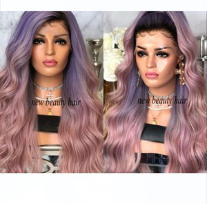 2019 new fashion celebrity Style Wig Synthetic black roots purple ombre pink Lace Front synthetic Wig heat resistant hair for women