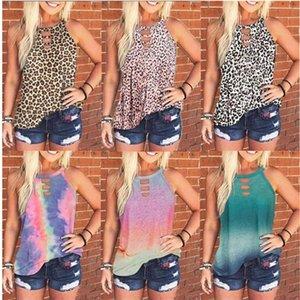 T Shirt barato Mulheres Tie-dye Leopard mangas Vest Shirt Primavera-Verão Grupo Casual pescoço Pullover Top Lady Romewear vestuário S-3XL D61201