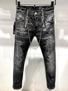 HOT 2020 NewBalmainMens Проблемного Ripped Байкер Mens Роскошных джинсы Slim Fit Motorcycle Biker Denim для мужчин S Black налить Hommes # 22