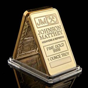 The Johnson Matthey JM Bullion Coin 1OZ 24K Gold Plated Ingot Badge 50Mm X 28Mm Decoration Bar