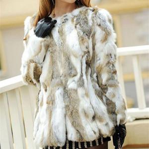 Ethel Anderson Real Farm Rabbit Pelzmantel Damen Gestreifte Jacke Luxus Parkas Hochzeit 68cm Y190828