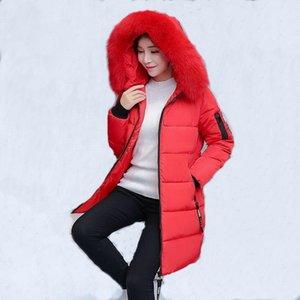 VXO 2019 Warm Thicken Chaqueta de invierno Mujeres con capucha larga de doble cara Desgaste Mujer cuello de piel abrigo de algodón Parkas