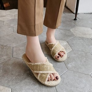 Bohemia tarzı keten klasik kadın yaz terlik Boncuklu saman kadın balıkçı ayakkabı moda slippers düz topuk dokuma