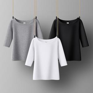 Cotton Mulheres T-shirt O-pescoço mulheres camisa de manga curta durante todo o jogo Lady Top Preto Branco Cinza Amarelo Shir T200407