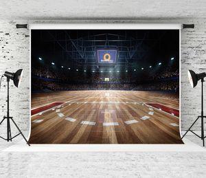 7x5ft Professionnel Cour de Basketball Photographie Toile de Fond Night Light Plancher En Bois Fond pour Sports Thème Parti Décor Photo Shoot ProP