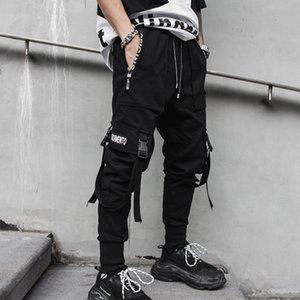 Calças Mens Hip Hop Pencil Pants Men Preto Harem Carga Multi-bolso Fitas Man cordão Sweatpants Streetwear