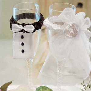 Home & Garden 2Pcs Lot Wedding Bride Groom Dress Wine Cups Wraps Champagne Glass Bottles Cover Wedding Party Events DIY Decoration Ornaments