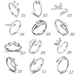 925 anillos de plata esterlina Jewerly Dolphins Dragonfly del ángel amor Fox apertura de la mariposa anillo ajustable para las mujeres regalos