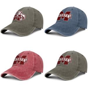 Bulldogs de Mississippi State hombre logo de fútbol y las mujeres del dril de algodón de béisbol diseñador diseño Diseño del casquillo de encargo su propio equipada personalizado