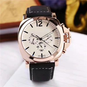 top Diseñador 3 zonas horarias Relojes para hombres Mecánico Movimiento automático Reloj de lujo de esfera múltiple Caja de acero Correa de cuero Relojes de pulsera