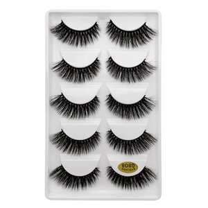 5 Pairs 3D 6D Faux Mink Hair False Eyelashes Cross Messy Dense Natural Long Lashes Handmade Fashion Eye Makeup Extension Tools