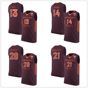 Virginia Tech Hokies Colegio # 13 # 14 Ahmed Colina P. J. Horne # 20 # 21 Ace Custis Landers Nolley II jerseys del baloncesto de encargo para hombre cualquier nombre