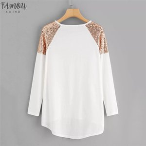 Plus Size Winter Fashion Women Ladies T Shirt Sequin Patchwork Bottoming Tops Long Sleeve Women Loose Top Tank Autumn Casual Clothes