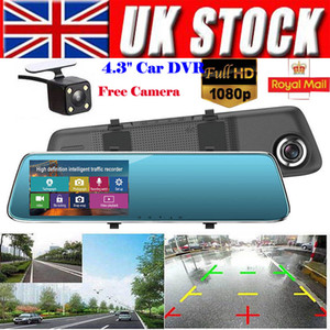 4.3 '' FHD 1080P Dual Lens 140 Degrees Car DVR Camera Specchietto retrovisore Digital Dash Cam Videoregistratore LCD frontale e posteriore