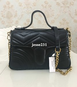 Venta caliente Nuevo estilo Diseñador de lujo Marmont Bolsos de hombro Mujer Cadena de oro Cross body Bag Pu Bolsos de cuero Monedero Mujer Messenger Tote Bag
