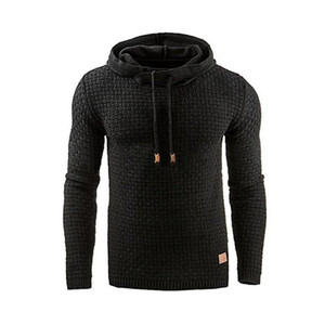 2020 New Arrival Men's Sweater Design for Spring and Autumn Long-sleeved Fashion Jacquard Plaid Hooded Sweather with S-4XL