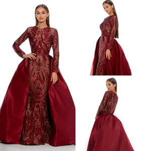 2019 Burgundy вечерние платья с съемными самосовершенствованными сатинскими блестками с длинным рукавом русалка по выпускным платью выпускного вечера на заказ скромные формальные платья