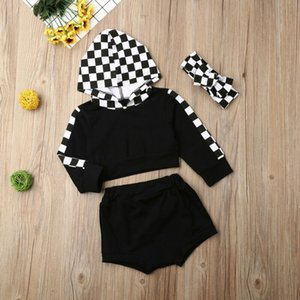 Boutique Girl Clothes Toddler Baby Girl Clothes Long Sleeve Plaids Hooded Tops+Shorts+Headband Outfit Tracksuit