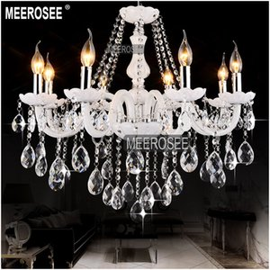White Elegant Modern Chandelier Crystal Light Glass Lobby Crystal Chandelier Lusters Pendant Light with 8 Lampholders MD801