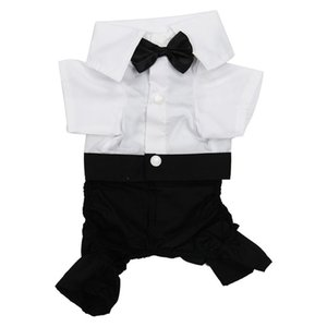 Handsome Formal Dog Jumpsuit with Bow Tie Groom Tuxedo Pet Costumes Dog Clothing XL