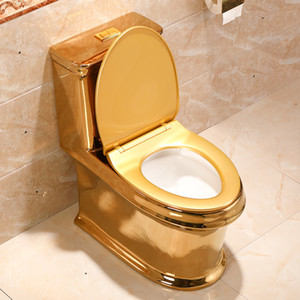 Kunst Gold WC Syphon Silent Water Saving Art WC Gold-Sitzen Pissoir Goldene Rebe Muster Porzellan-Keramik-WC-Sitz