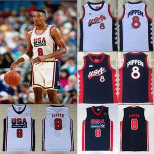 1992 1996 팀 미국 미국 올림픽 드림 팀 # 8 스코티 피펜 농구 유니폼 농구 유니폼 사이즈는 S-XXL를