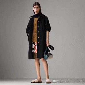 2019 Milan Runway Trench Coats Lapel Neck Long Sleeve Brand Same Style Trench Coats Women Designer Coats 081701AK