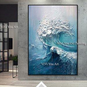 Grande taille des vagues WALL peint à la main peinture art océan mer mur stock toile Peinture à l'huile pour le salon et la chambre Accrochage CJ191216